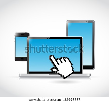 set of electronics and cursor hand illustration design over a white background - stock photo