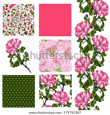 set of 6 elegant seamless patterns with decorative pink roses, dots, curls and abstract flowers, design elements - stock photo