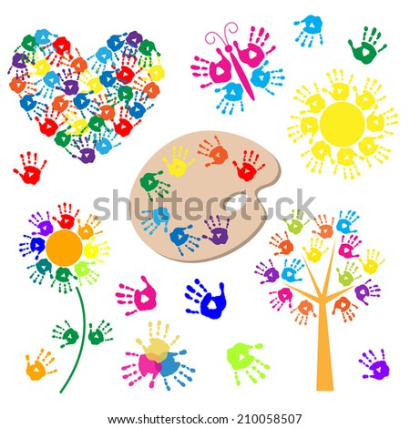 Set of elements for design with a handprints - stock photo