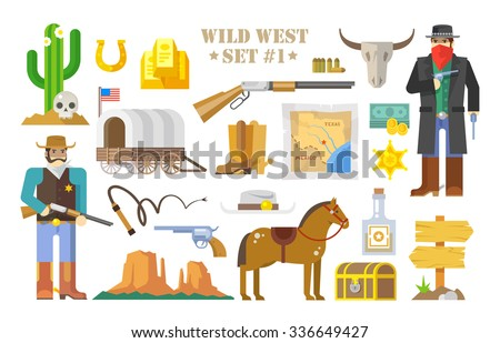 Set of  elements on the theme of wild West. Cowboys. Life in the wild West. The development of America. Modern flat style. Part one. - stock photo