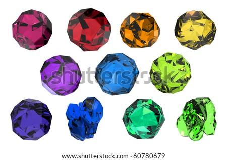 set of eleven isolated gemstones - stock photo