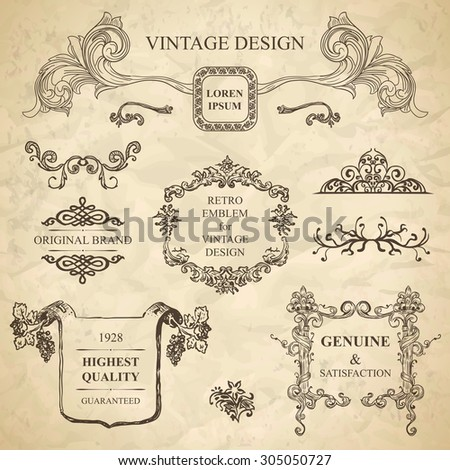 set of emblems for vintage design - stock photo
