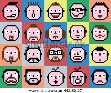 SET OF EMOTIONS SET OF EMOJI FACE ICONS FACE PIXEL FACE RETRO VINAGE FACE - stock photo