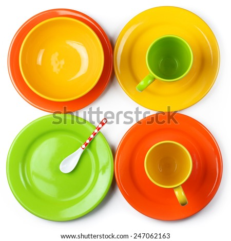 Set of empty colorful ceramic dishware isolated on white background. Top view point. - stock photo