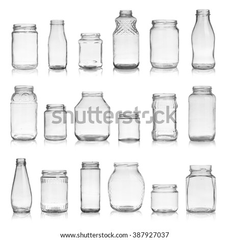 Set of empty jars isolated on white background - stock photo