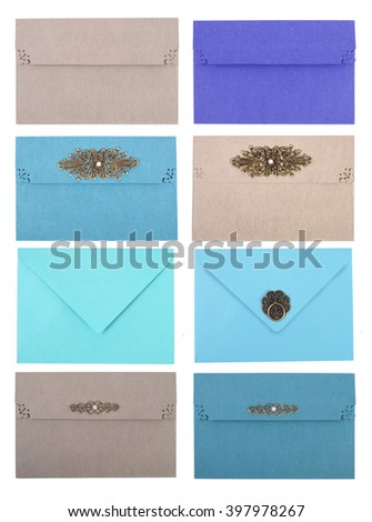 set of envelope,  isolated on white background - stock photo