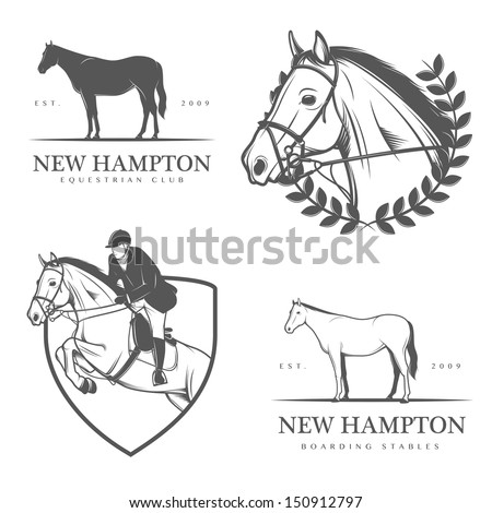 Set of equestrian stables labels and badges - stock photo