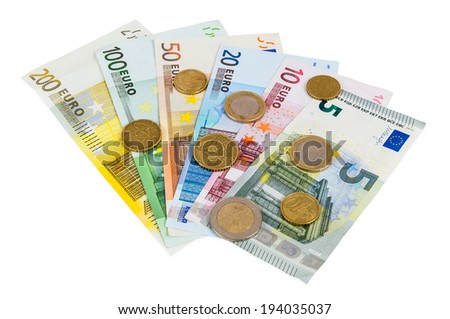 Set of euro banknotes and coins isolated on white background with clipping path - stock photo