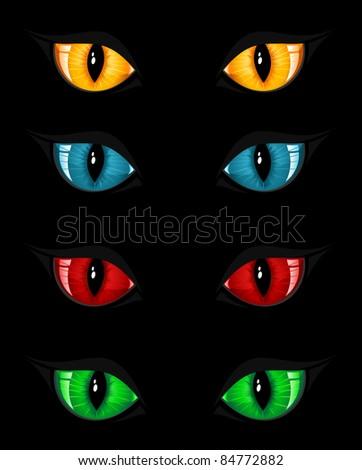 Set of evil eyes on black background, illustration - stock photo