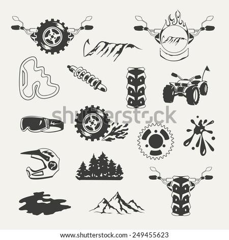Set of extreme sports emblems, badges, labels and designed elements - stock photo