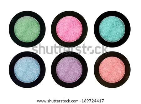 Set of 4 eye shadows isolated on white isolated on white background - stock photo