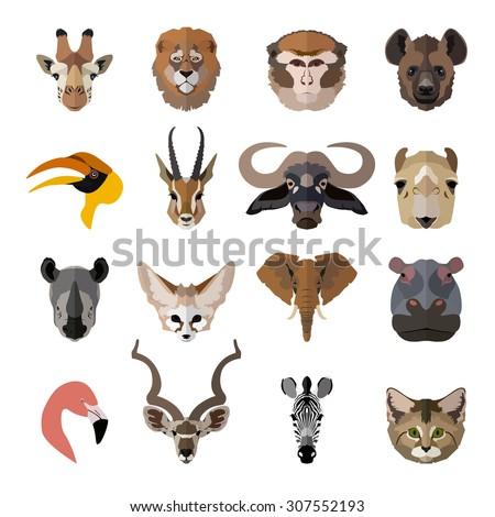 Set of face wildlife isolated icons. Giraffe, magot, hyena, sand cat, african buffalo, elephant, pink flamingo, kudu antelope, rhinoceros, dorcas gazelle, hippopotamus, zebra. Flat style design - stock photo