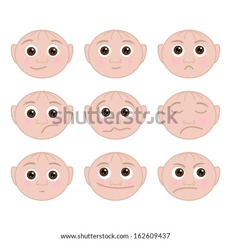 Set of faces with child emotions - stock photo