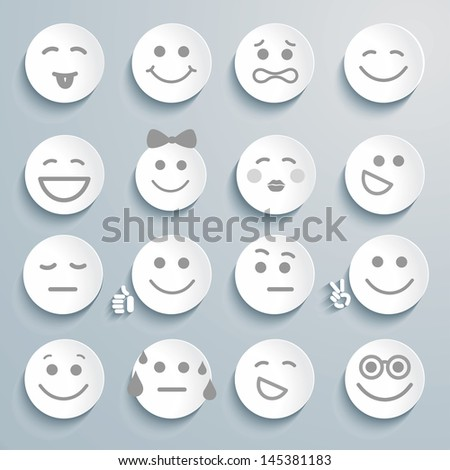 Set of faces with various emotion expressions. Vector Smileys. - stock photo
