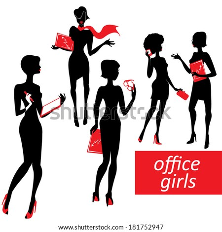 Set of fashionable business girls silhouettes on a white background. Raster version - stock photo