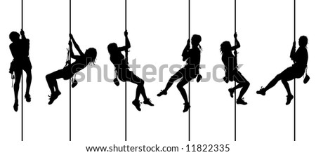 Set of female climber - stock photo