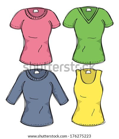 set of female clothes - stock photo