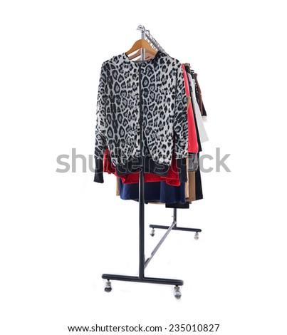Set of female clothing on hanging  - stock photo