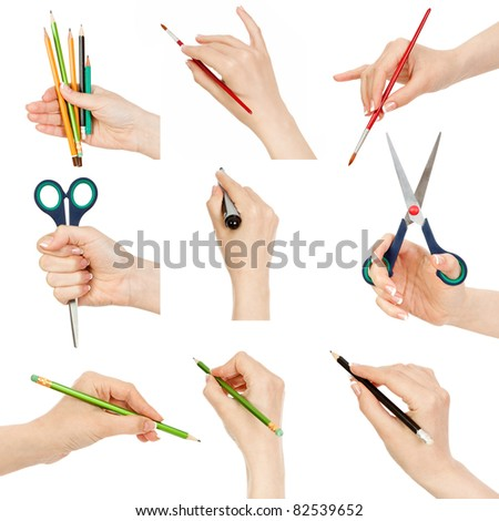 set of female hand with a pencil, brush, marker and scissors on a white background - stock photo