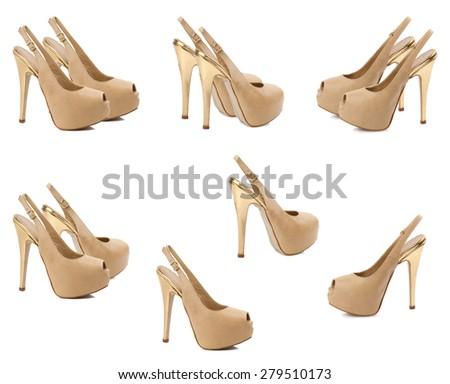 Set of female shoes isolated on white background. - stock photo