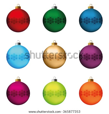 Set of festive Christmas decorations for the Christmas tree. Isolated objects, illustration - stock photo
