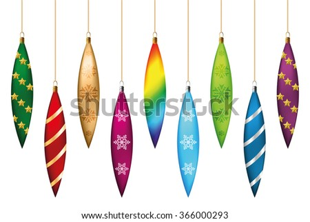 Set of festive Christmas decorations icicles for the Christmas tree. Isolated objects,  illustration - stock photo