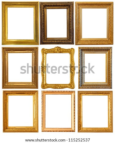 Set of few gold picture frames. Isolated over white background with clipping path - stock photo