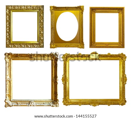 Set of few picture frames. Isolated over white background - stock photo