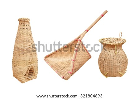set of fishing equipment  made from bamboo isolated - stock photo