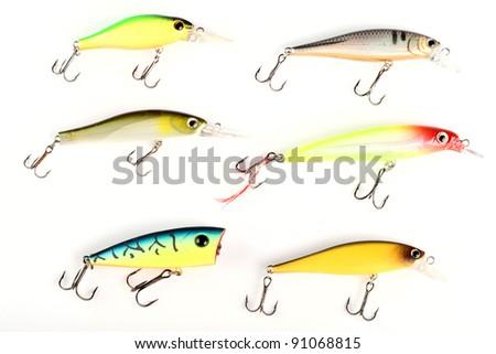 Set of fishing lures - stock photo