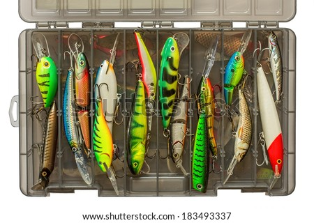 Set of fishing lures in box - stock photo