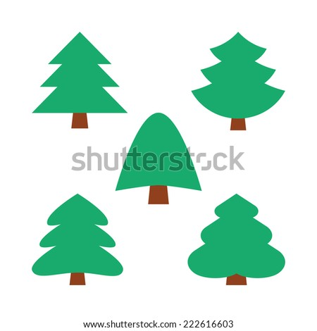 set of five christmas simple trees in natural green color without decoration - stock photo