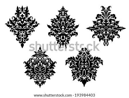 Set of five different foliate arabesque patterns in black and white with acanthus leaf motifs suitable for damask textile and print elements. Vector version also available in gallery - stock photo