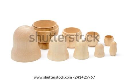 Set of five disassembled wooden matryoshkas isolated - stock photo