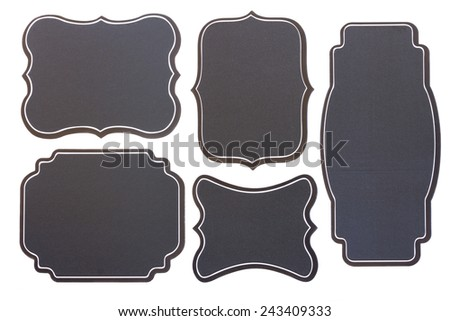 set of five  empty black board vintage  tags   isolated on white background - stock photo