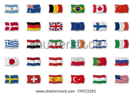 Set of Flags - stock photo