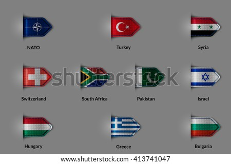 Set of flags in the form of a glossy textured label or bookmark. NATO Turkey  Syria Switzerland SOUTH AFRICA  Pakistan  Israel Hungary Greece Bulgaria. Rasterized version. - stock photo
