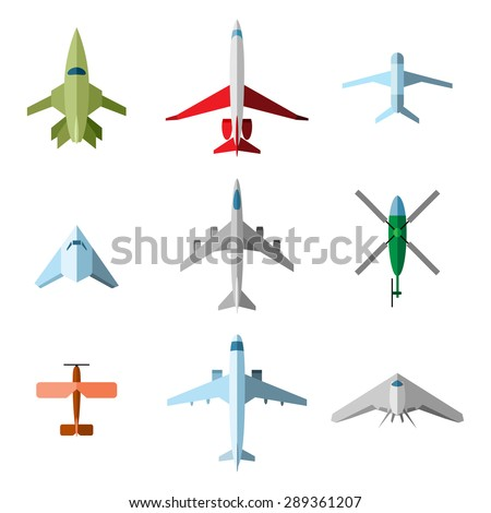 Set of flat airplane. Plane and aircraft, flight fly, aviation and airline - stock photo