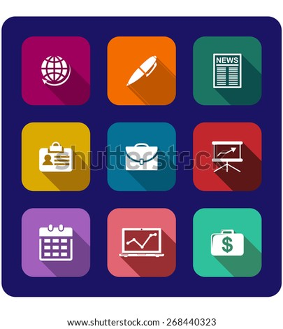 Set of flat business icons on buttons with a globe, pen, newspaper, graph, briefcase, identification, money, calendar and presentation - stock photo