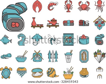 Set of 32 flat color icons with black contour for asian or japanese restaurant. Sushi rolls, traditional drinks, prepared fish, rice dish and other seafood menu elements for business or website - stock photo