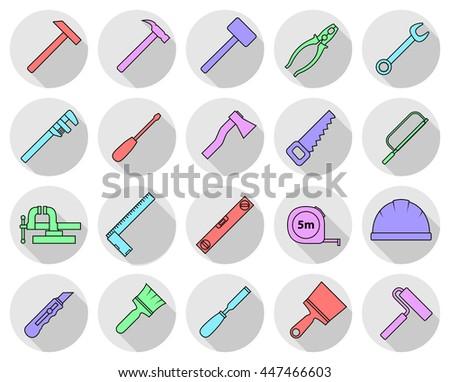 Set of flat colorful repair tool icons. Home repair sign. Worker tools. Raster version. - stock photo