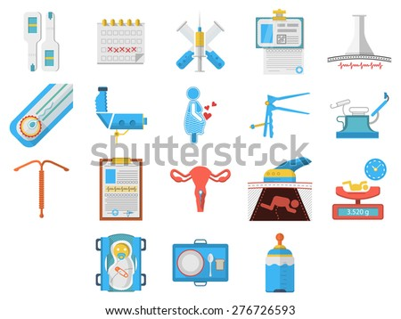 Set of flat colors style icons for elements and objects for gynecology and obstetrics on white background. - stock photo