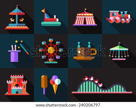 Set of flat design amusement park icons - stock photo