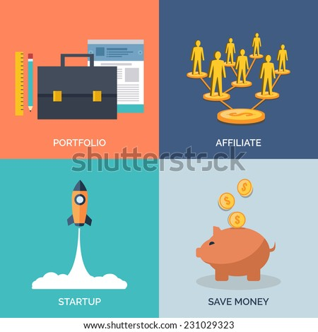 Set of flat design concept icons for business. Portfolio, Affiliate, Startup and Save Money.  - stock photo