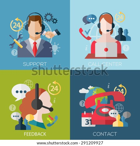 Set of flat design concept icons for web and mobile phone services and apps. Icons for faq, newsletter, support, contact. - stock photo