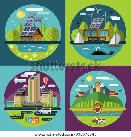 Set of flat design concept illustrations with icons of ecology, environment, recycling, green energy, eco city and eco village. Rasterized copy - stock photo