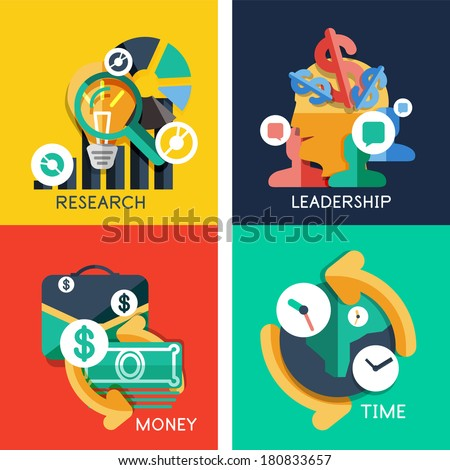 Set of flat design concepts - business idea, money, leadership, research, time - stock photo