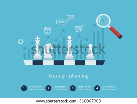 Set of flat design illustration concepts for data analysis, strategy planning and successful business - stock photo