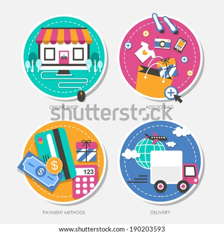 set of flat design illustration for online shop, add to bag, payment methods, delivery - stock photo