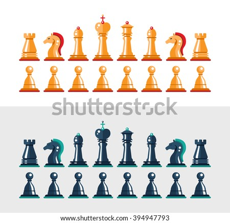 Set of flat design isolated black and white chess figures. Collection of the king, queen, bishop, knight, rook, and pawn - stock photo